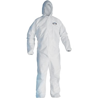 KleenGuard A40 Liquid Apparel Coveralls, Hooded, White, 3-Extra Large, 25/Carton