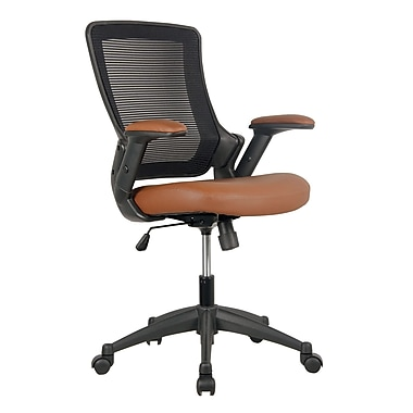 Techni Mobili Mid-Back Mesh Task Office Chair with Height Adjustable Arms. Color: Brown