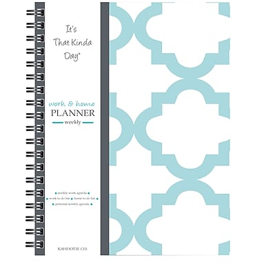 """Kahootie Co™ It's That Kinda Day™- Home & Work Weekly Planner, 9"""" x 11.5"""", Teal and White(ITKHWTW)"""