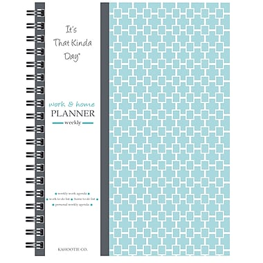 """Kahootie Co™ It's That Kinda Day™- Home & Work Weekly Planner, 9"""" x 11.5"""", Teal (ITKHWT)"""