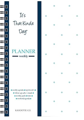 """Kahootie Co™ It's That Kinda Day™- Weekly Planner, 6"""" x 9"""", Teal and White (ITKWTW)"""