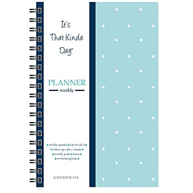"""Kahootie Co™ It's That Kinda Day™- Weekly Planner, 6"""" x 9"""", Teal Polka Dot (ITKWTPD)"""