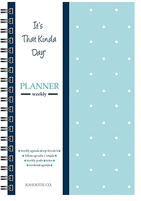 "Kahootie Co™ It's That Kinda Day™- Weekly Planner, 6"" x 9"", Teal Polka Dot (ITKWTPD)"