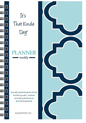 """Kahootie Co™ It's That Kinda Day™- Weekly Planner, 6"""" x 9"""", Teal (ITKWT)"""
