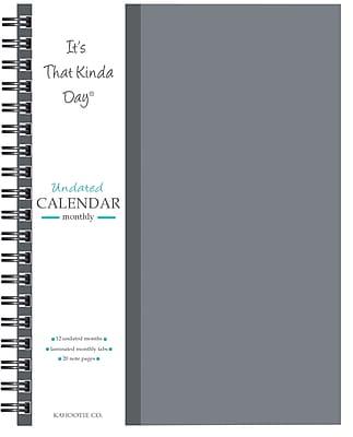 "Kahootie Co™ It's That Kinda Day™- Undated Monthly Calendar, 9"" x 11.5"", GRAY (ITKCG)"