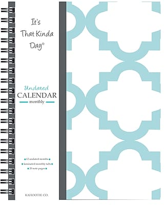 "Kahootie Co™ It's That Kinda Day™- Undated Monthly Calendar, 9"" x 11.5"", Teal and White (ITKCTW)"