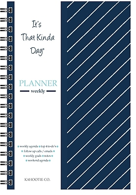 """Kahootie Co™ It's That Kinda Day™- Weekly Planner, 6"""" x 9"""", Navy Stripe (ITKWNS)"""