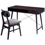 Techni Mobili Modern Desk with storage and Chair Set, Wenge/Gray