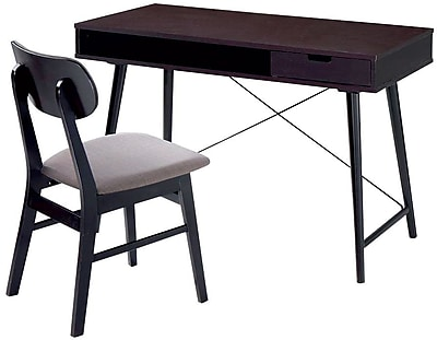 Techni Mobili Modern Desk With Storage And Chair Set, Wenge/Gray  (RTA 3603ST WN) | Staples