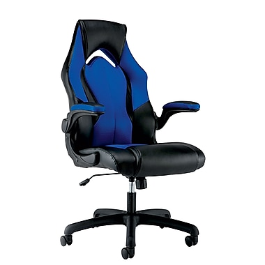 OFM Essentials By OFM Leather Racing Style Gaming Chair Black/Blue ESS 3086