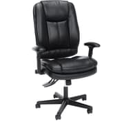 OFM Essentials by OFM Leather 3-Paddle Ergonomic High-Back Chair with Lumbar Support, Black, Adjustable Height Arms (ESS-6050)
