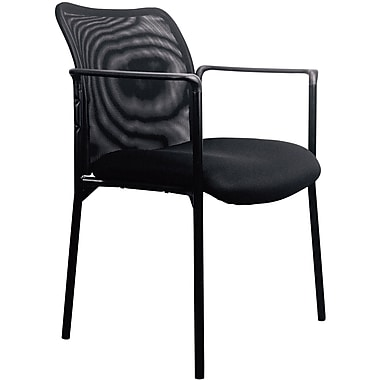 OFM Essentials By OFM Mesh Steel Tube Frame Upholstered Stacking Side Chair  With Arms Black ESS