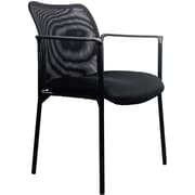 OFM Essentials by OFM Mesh Steel Tube Frame Upholstered Stacking Side Chair with Arms Black ESS-8010