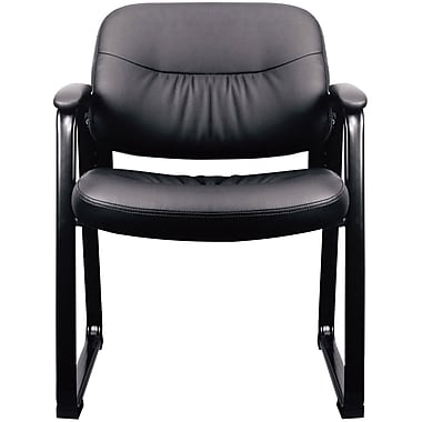 essentials by ofm leather executive sled base side chair with padded arms black ess9015