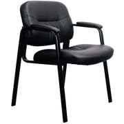 OFM Essentials by OFM Leather Executive Side Chair, Black, Fixed Padded Arms (ESS-9010)