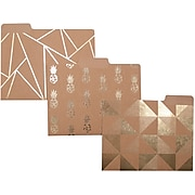 """Studio C """"She's Krafty"""" Fashion Top Tab File Folders with Gold Foil, Letter, 3 Tab, 6/Pack"""