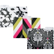 "Studio C ""Fashionista"" Fashion Plastic Top Tab File Folders, Letter, 3 Tab, 6/Pack"