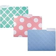 "Studio C ""Pattern Play"" Fashion Poly Top Tab File Folders, Letter, 3 Tab, 6/Pack"