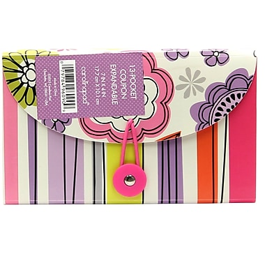 Studio C Whimsical Flowers 13 Pocket Coupon Plastic Expandable File, Each (96090)