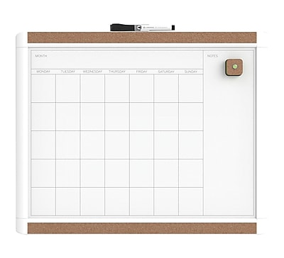 U Brands Pin-It Magnetic Dry Erase Monthly Calendar Board 20 x 16 White Frame