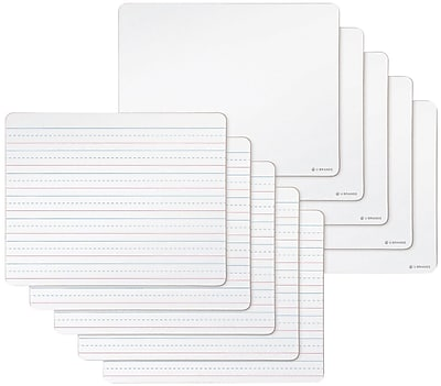 U Brands Dry Erase Lap Boards Double Sided Ruled and Plain 9 x 12 10-Pack