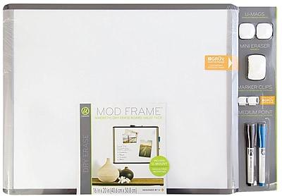 U Brands MOD Magnetic Dry Erase Board Value Pack 20 x 16 Black and Gray Frame