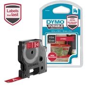 DYMO D1 DURABLE 1/2 WHT ON RED