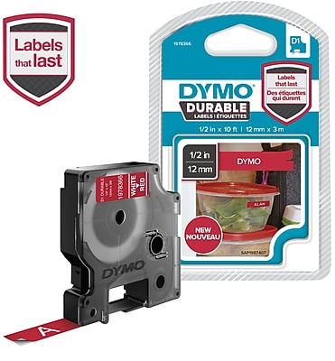 DYMO D1 Durable Labeling Tape for LabelManager Label Makers, White on Red, 1/2
