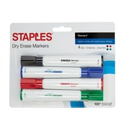 STAPLES® REMARX® DRY ERASE TANK MARKERS, CHISEL, ASSORTED 4PK (29205)