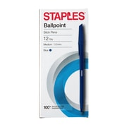 STAPLES® BALLPOINT STICK PENS MED 1.0MM BLUE 12PK (29253)