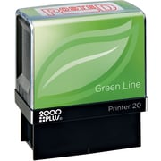2000PLUS Green Line Self inking Stamp, Posted, Red Ink by