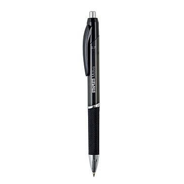 Staples Motiva™ Advanced Ink Retractable Ballpoint Pens, Fine, Black, 12/Pack (21521)