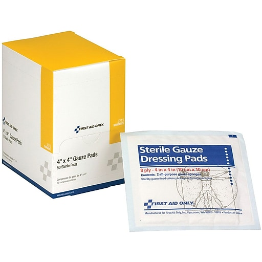 first aid only 4 x4 sterile gauze pads 50 per box j213 staples