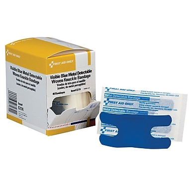First Aid Only® Adhesive Bandage, Blue Metal Detectable, Woven, Knuckle, 1 1/2