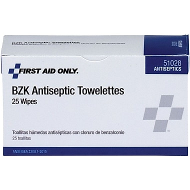 First Aid Only® BZK Antiseptic Wipes, 25 Per Box (51028)
