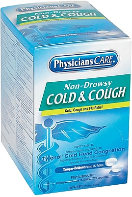PhysiciansCare® Cold & Cough Medicine, (Compare to Tylenol® Cold Head Congestion), 50 Packets/Box