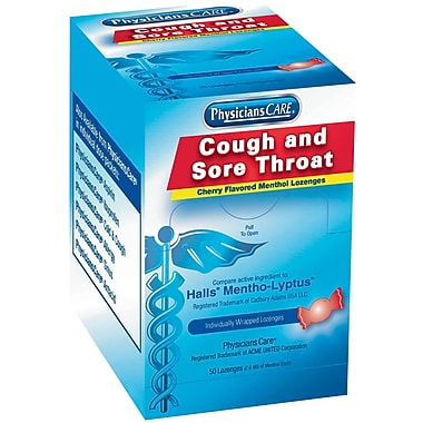 PhysiciansCare® Cough & Throat Lozengers, Cherry Flavor, 50 Count (90306)