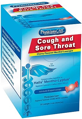 PhysiciansCare® Cough Drops, (Compare to Halls), Cherry Flavor Cough/Sore Throat Lozenges, 50/Box