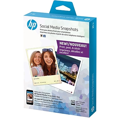 HP Social Media Snapshots Removable Sticky Photo Paper, 25 Sheets, 5
