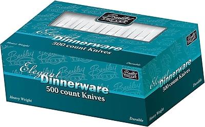 Berkley Square Heavy PS Boxed Knife, Dinner Length, White Plastic, 500/Box (1071010)
