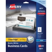 "Avery Clean Edge 2-Side Printable Inkjet Business Cards, White, 2"" x 3 1/2"",200/Pack"