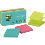 "Post-it® Super Sticky Pop-up Notes, 3"" x 3"", Miami Collection, 10 Pads/Pack (R330-10SSMIA)"