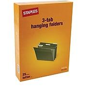 Staples® Hanging File Folders, 3-Tab, Letter, Standard Green, 250/CT (116806CT)