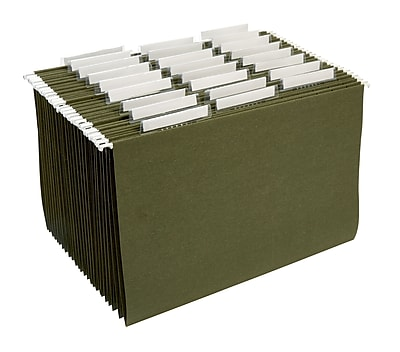 Staples® 100% Recycled Reinforced Hanging File Folders, 3-Tab, Legal, Standard Green, 25/Box (16471-US-CC)