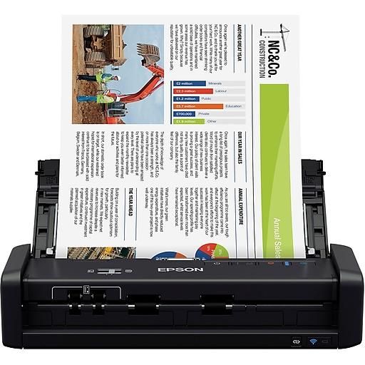 Epson WorkForce® ES-300W Wireless Portable Duplex Document Scanner with ADF