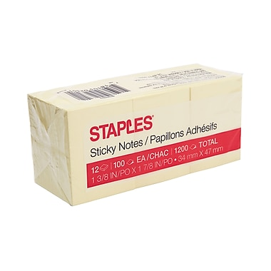 "Staples® Recycled Stickies Self-Stick Notes, 1-1/2"" x 2"", 12/Pack"