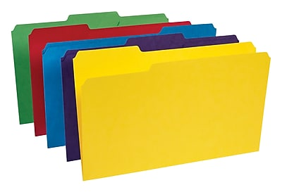 Staples Heavyweight Colored File Folders, 3 Tab, Legal, 50/Box