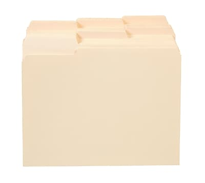 Staples 100% Recycled File Folders, 3-Tab, Letter Size, Manila, 250/Box (516564)