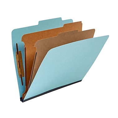 Staples® Recycled Classification Folders, 2/5-Cut Tab, Blue, 2 Partitions, 20/Box (98763SB)