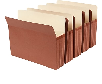 Staples® Red Rope Expanding File Pockets, 3 1/2